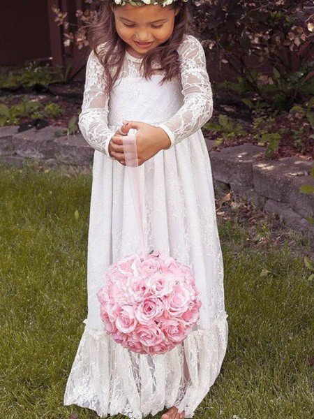 A-Line/Princess Long Sleeves Jewel Bowknot Lace Floor-Length Flower Girl Dresses