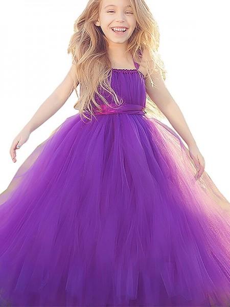 Ball Gown Straps Sleeveless Bowknot Floor-Length Tulle Flower Girl Dresses