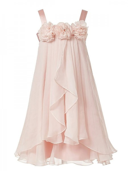 A-Line/Princess Sleeveless Straps Hand-Made Flower Chiffon Floor-Length Flower Girl Dresses