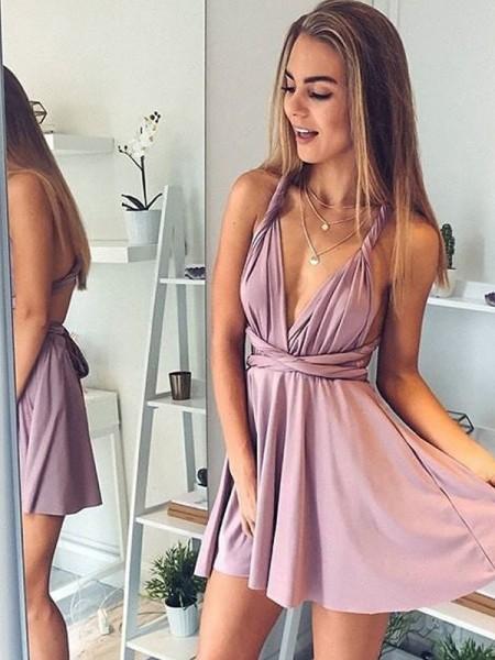 A-Line/Princess V-neck Sleeveless Short/Mini Silk like Satin Dresses