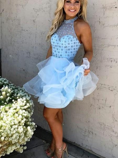 A-Line/Princess High Neck Sleeveless Beading Short/Mini Tulle Dresses