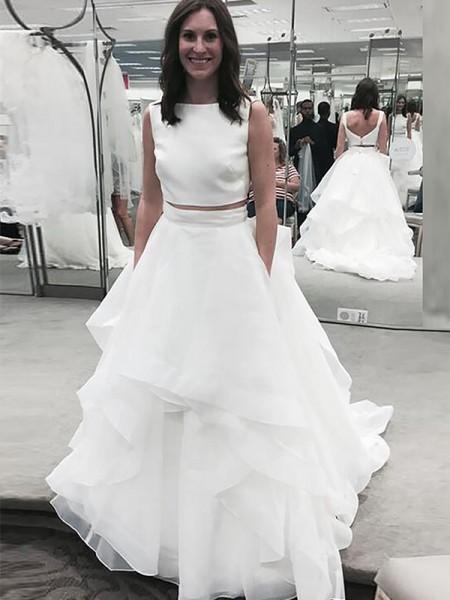 A Line Princess Bateau Sleeveless Chiffon Court Train Wedding Dresses
