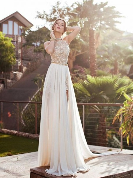 A-Line/Princess Halter Sleeveless Lace Chiffon Sweep/Brush Train Dresses