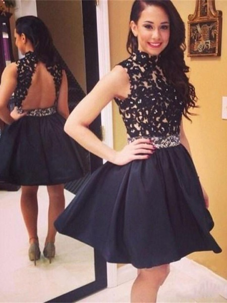 A-Line/Princess Sleeveless High Neck Taffeta Lace Short/Mini Dresses