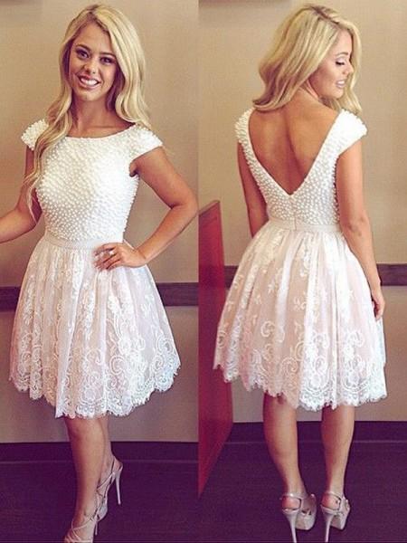 A-Line/Princess Scoop Short Sleeves Pearls Lace Short/Mini Dresses