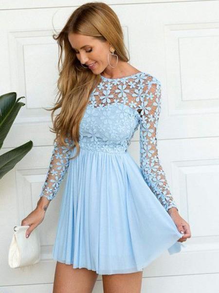 A-Line/Princess Scoop Long Sleeves Lace Short/Mini Chiffon Dresses