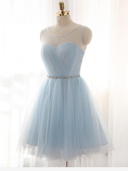A-Line/Princess Scoop Beading Sleeveless Short/Mini Tulle Dresses