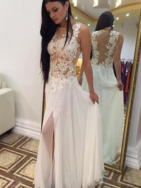 A-Line/Princess Scoop Sleeveless Floor-Length Applique Chiffon Dresses