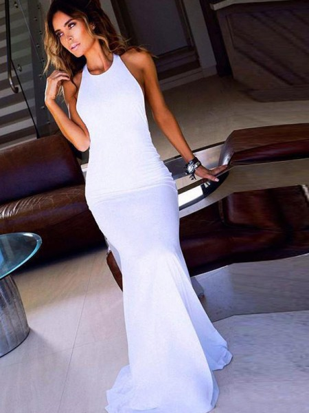 Sheath/Column Scoop Sleeveless Floor-Length Chiffon Dresses
