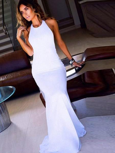 Sheath/Column Scoop Sleeveless Floor-Length Chiffon Dresses