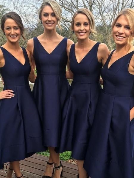 A-Line/Princess V-neck Sleeveless Tea-Length Satin Bridesmaid Dresses
