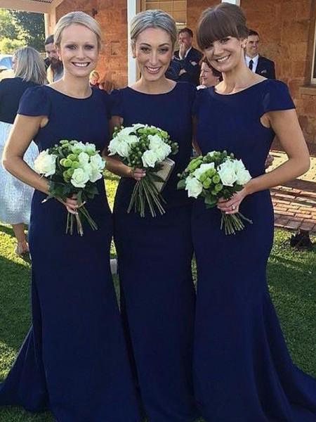 Sheath/Column Scoop Short Sleeves Floor-Length Satin Bridesmaid Dresses