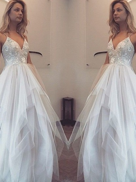 A-Line/Princess Spaghetti Straps Sleeveless Floor-Length Tulle Dresses