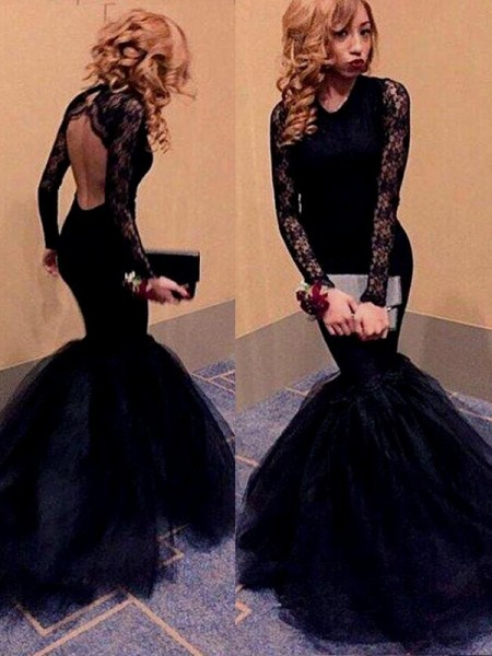 Trumpet/Mermaid Long Sleeves Scoop Lace Floor-Length Tulle Dresses