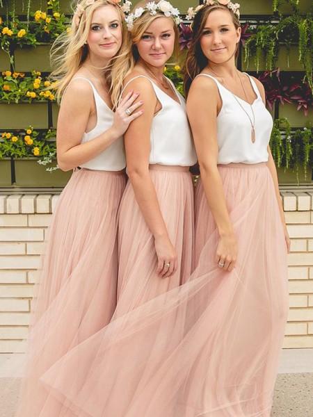 A-Line/Princess V-neck Sleeveless Floor-Length Tulle Bridesmaid Dresses