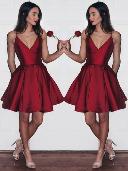 A-Line/Princess V-neck Sleeveless Satin Short/Mini Dresses