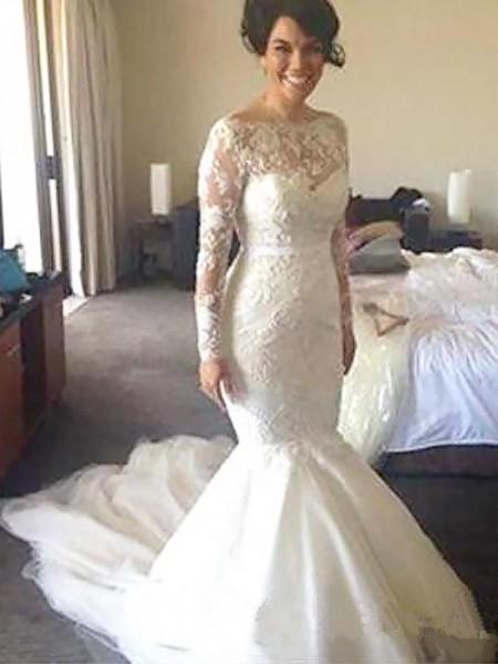 bateau long sleeve wedding dress
