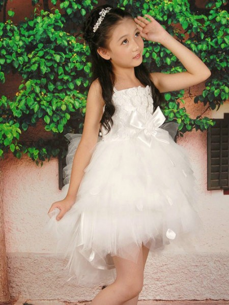 A-line/Princess Straps Sleeveless Hand-made Flower Short Tulle Flower Girl Dresses