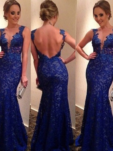 Trumpet/Mermaid V-neck Sleeveless Applique Floor-length Lace Dresses