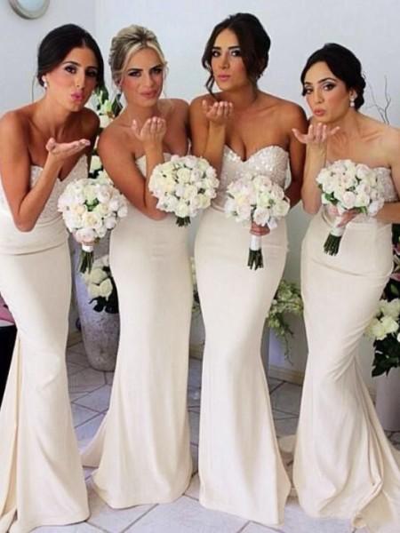 Trumpet/Mermaid Sweetheart Sleeveless Beading Floor-length Satin Bridesmaid Dress
