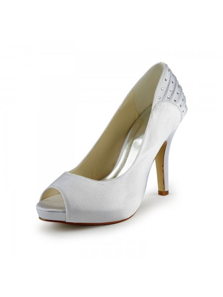 Women's Satin Stiletto Heel Peep Toe With Rhinestone White Wedding Shoes