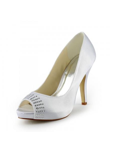 Women's Satin Stiletto Heel Peep Toe Platform White Wedding Shoes With Rhinestone