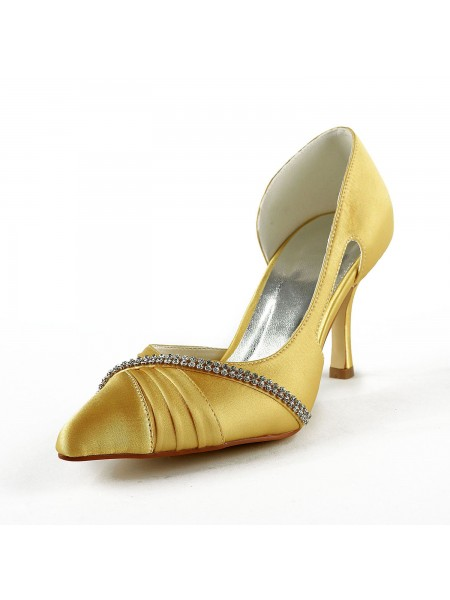 Women's Satin Stiletto Heel Closed Toe Pumps Gold Wedding Shoes With Rhinestone