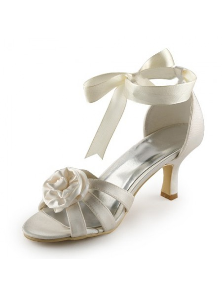 Women's Satin Stiletto Heel Sandals Ivory Wedding Shoes With Satin Flower