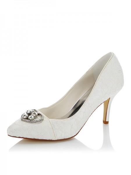 Women's Net PU Closed Toe Stiletto Heel Wedding Shoes