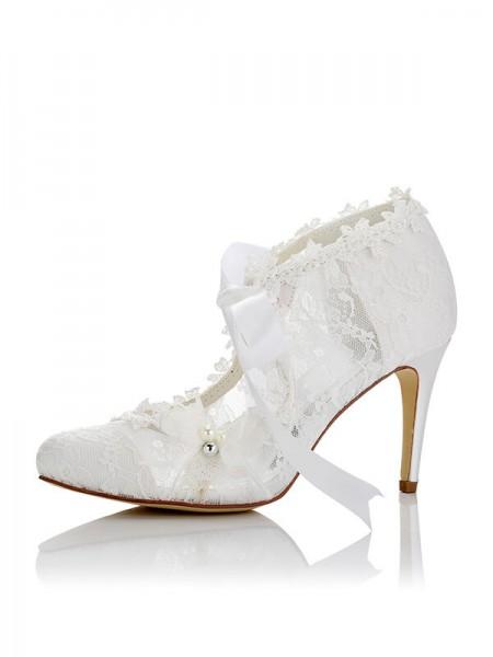 Women's PU Closed Toe Stiletto Heel Wedding Shoes