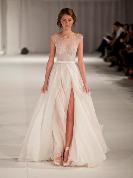 A-line/Princess Scoop Sleeveless Short Sleeves Floor-length Organza Prom Dresses