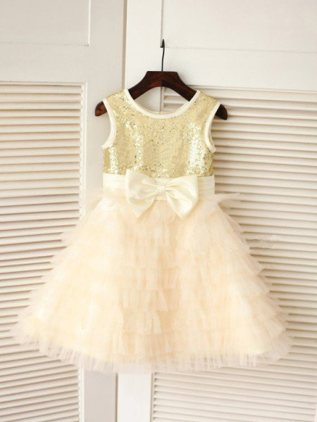 A-line/Princess Scoop Sleeveless Bowknot Long Tulle Dresses
