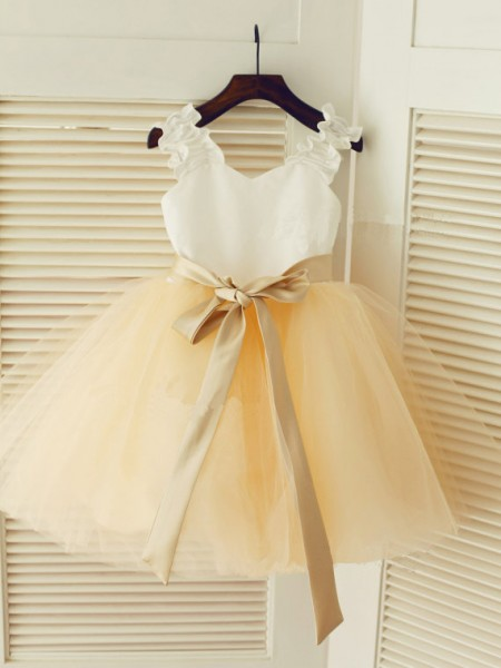 Straps Ball Gown Sleeveless Sash/Ribbon/Belt Long Tulle Dresses