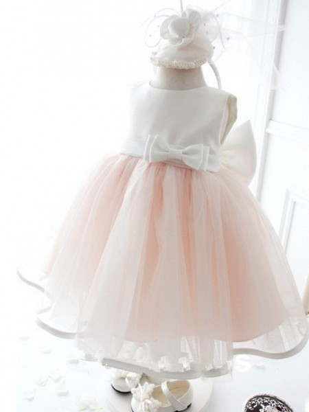 Ball Gown Jewel Sleeveless Bowknot Long Organza Dresses