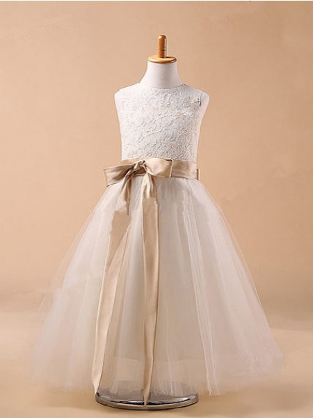 Ball Gown Jewel Sleeveless Bowknot Long Tulle Dresses