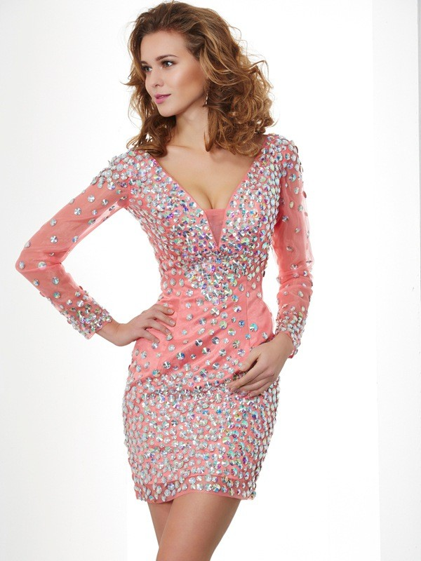 Sheath/Column V-neck Long Sleeves Beading Short Chiffon Homecoming Dresses