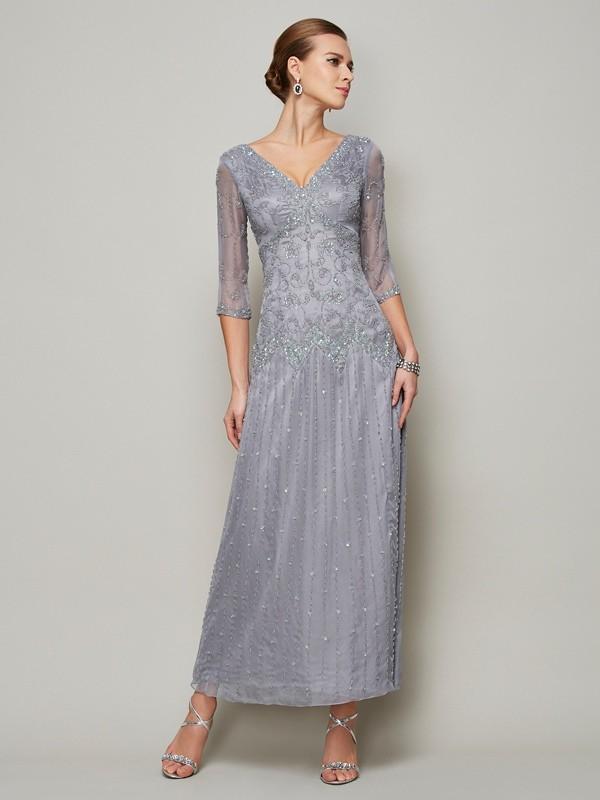 Sheath/Column V-neck 1/2 Sleeves Beading Long Elastic Woven Satin Mother of the Bride Dresses