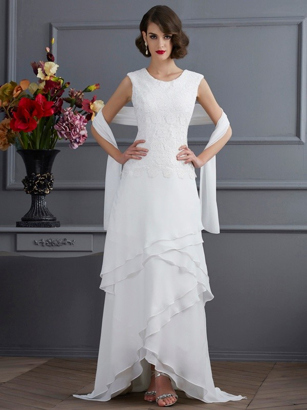 Sheath/Column Bateau Sleeveless Lace High Low Chiffon Mother of the Bride Dresses