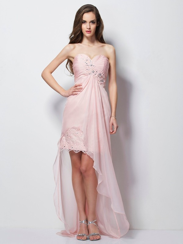 A-Line/Princess Sweetheart Sleeveless Beading Applique High Low Chiffon Dresses