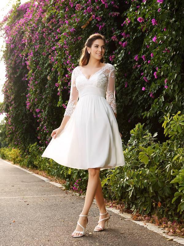 A-Line/Princess V-neck 3/4 Sleeves Short Chiffon Wedding Dresses