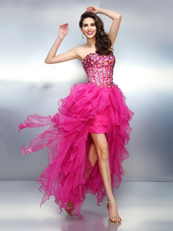 A-Line/Princess Sweetheart Rhinestone Sleeveless High Low Organza Cocktail Dresses