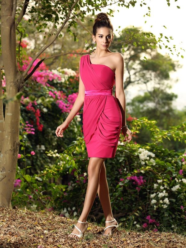 Sheath/Column One-Shoulder Sleeveless Short Chiffon Bridesmaid Dresses
