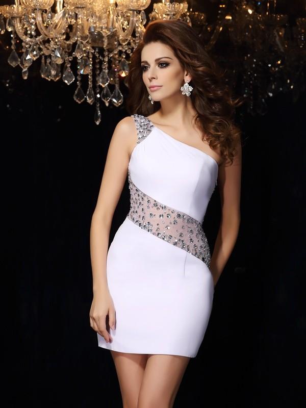Sheath/Column One-Shoulder Beading Sleeveless Short Chiffon Cocktail Dresses