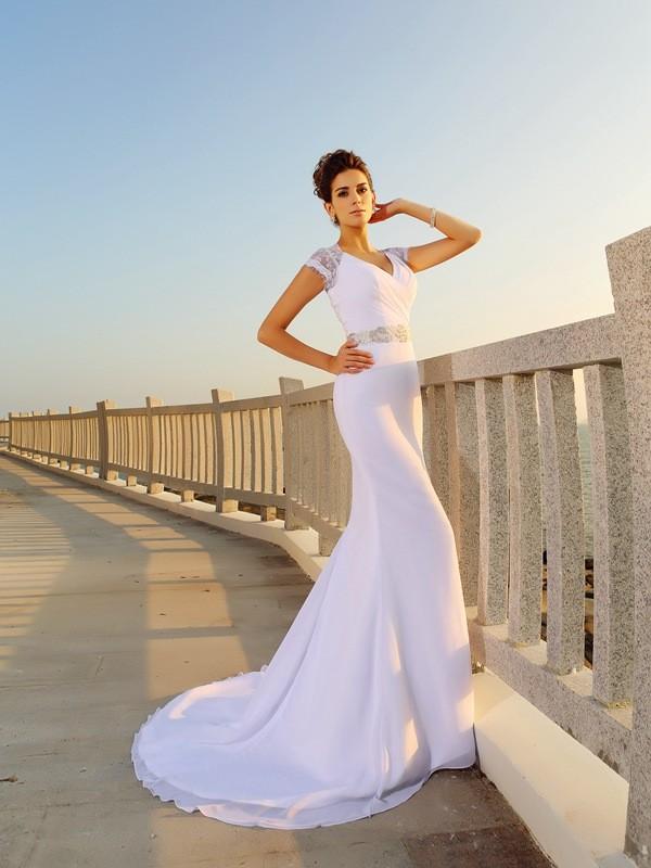 Sheath/Column V-neck Beading Sleeveless Long Chiffon Beach Wedding Dresses