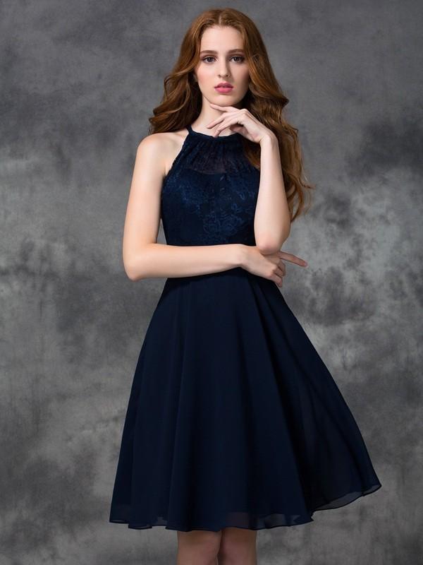 A-line/Princess Halter Lace Sleeveless Short Chiffon Bridesmaid Dresses