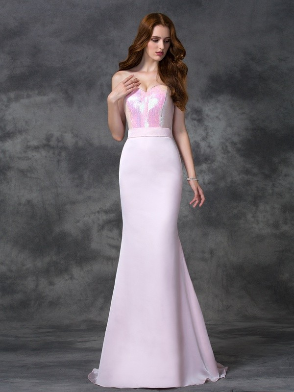 Trumpet/Mermaid Sweetheart Beading Sleeveless Long Satin Chiffon Bridesmaid Dresses