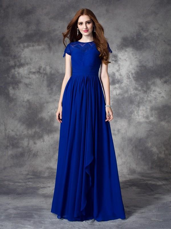 A-line/Princess Bateau Lace Sleeveless Long Chiffon Bridesmaid Dresses
