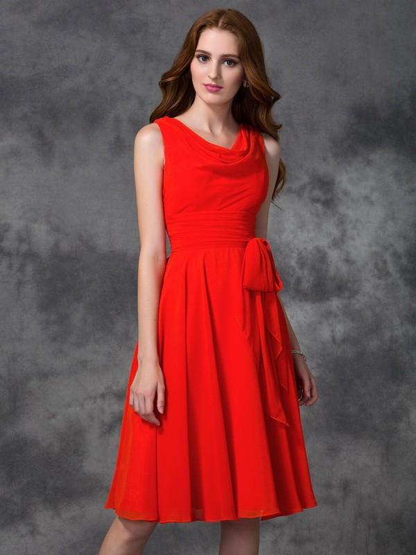 A-line/Princess Scoop Ruffles Sleeveless Short Chiffon Bridesmaid Dresses
