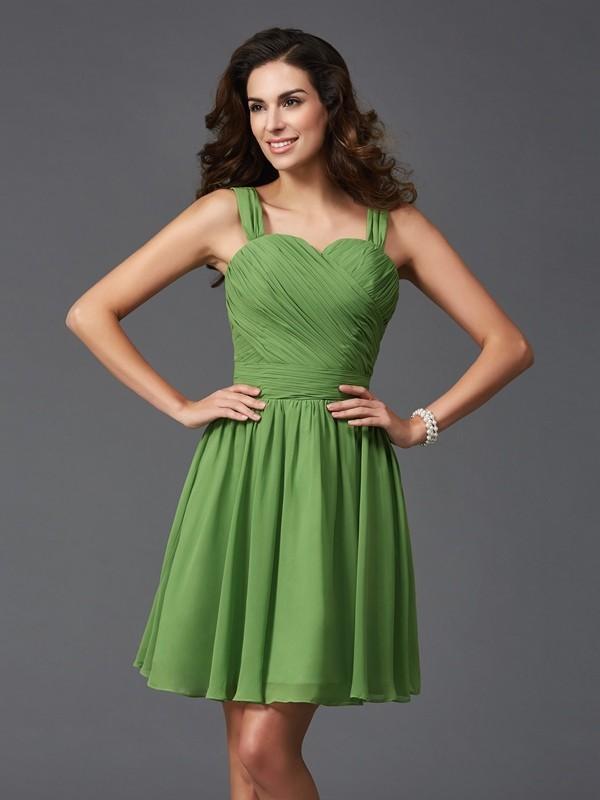 A-Line/Princess Straps Ruffles Sleeveless Short Silk like Satin Bridesmaid Dresses