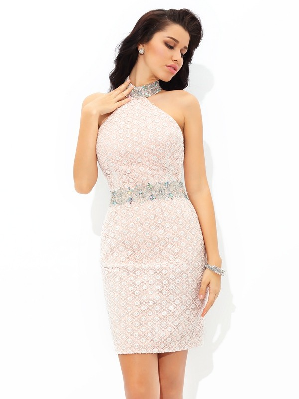 Sheath/Column Halter Beading Sleeveless Short Satin Cocktail Dresses